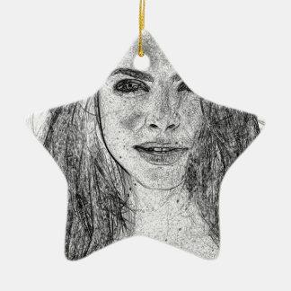 Lady in Black and White Ceramic Star Ornament