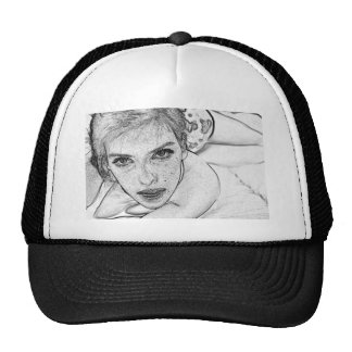 Lady in Black and White Trucker Hat