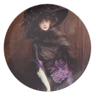Lady in Black with a Greyhound Plate