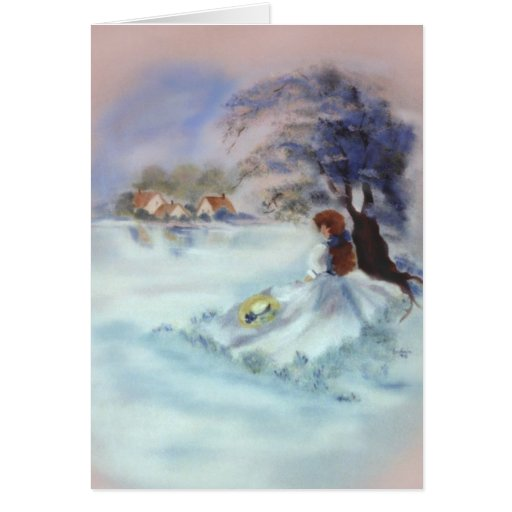 Lady in Blue by Lake and Tree Painting II Greeting Card