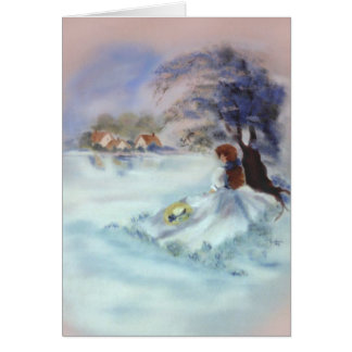Lady in Blue by Lake and Tree Painting II Note Card