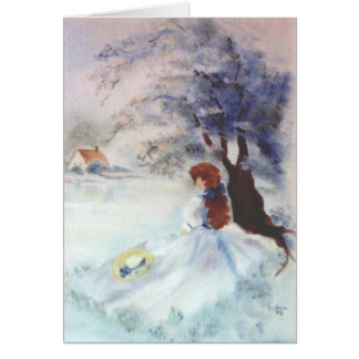 Lady in Blue by Lake and Tree Painting Note Card