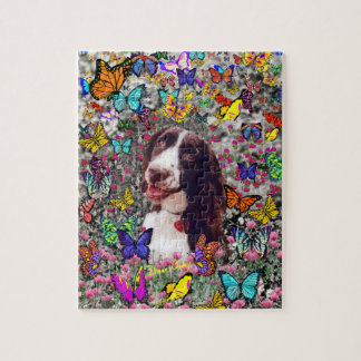 Lady in Butterflies  - Brittany Spaniel Dog Jigsaw Puzzle