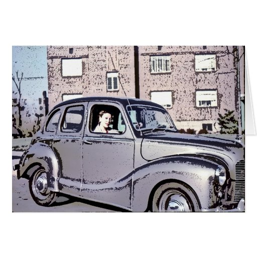 Lady in Car Greeting Cards