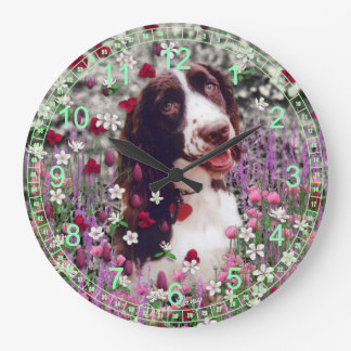 Lady in Flowers - Brittany Cocker Spaniel Large Clock