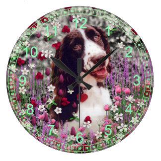 Lady in Flowers - Brittany Cocker Spaniel Wallclocks