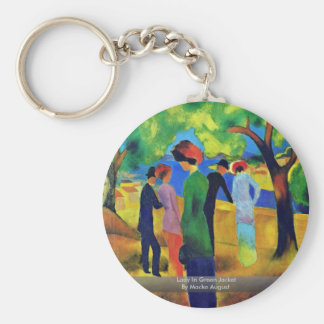 Lady In Green Jacket By Macke August Basic Round Button Keychain