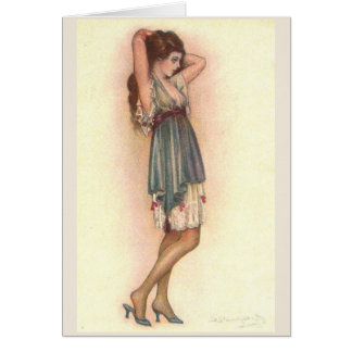 Lady in Her Chemise, Card