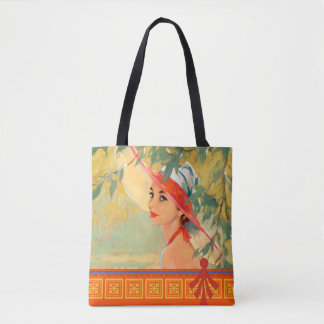 Lady in Orange Hat Tote Bag