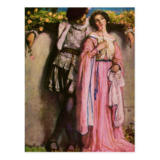 Lady In Pink Dress With A Gentleman Postcard