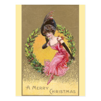 Lady in Pink Sitting on Holly Wreath Christmas Postcard