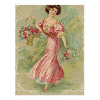 Lady in Pink Tea Label Postcard