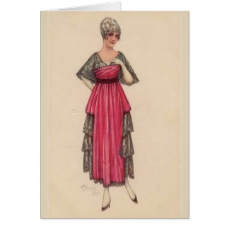 Lady in Pink with Black Lace, Card