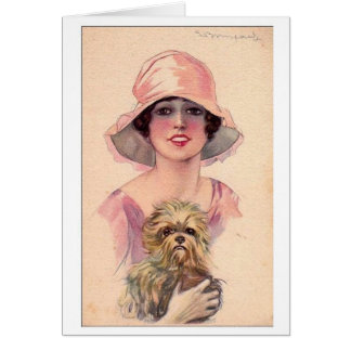 Lady in Pink with Dog, Card