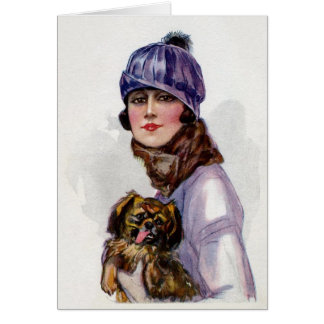 Lady in Purple with Her Dog, Card