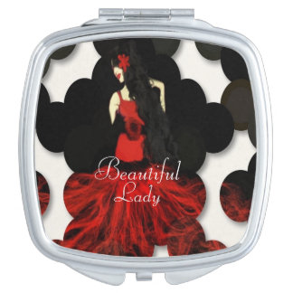 Lady In Red Compact Mirror