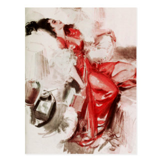 Lady in Red Falls Asleep Postcard