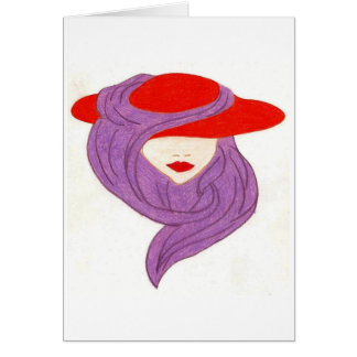 lady in red hat card