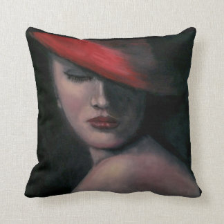 Lady in Red Pillow