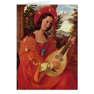 Lady in Red playing a Lute Card