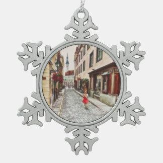 Lady in Tallinn Estonia Pewter Snowflake Ornament