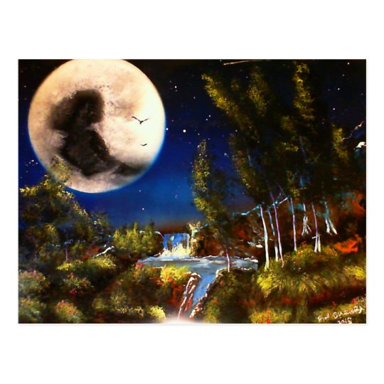 Lady in the Moon Postcard