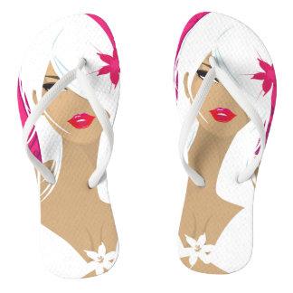 Lady in White Flip Flops