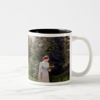Lady in White Reading Two-Tone Coffee Mug