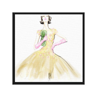 Lady in yellow canvas print