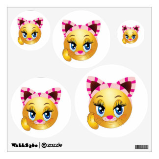 Lady Kitty Smiley Face Wall Decal