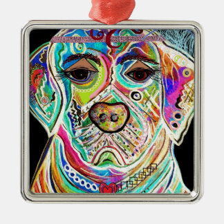Lady Lab Silver-Colored Square Ornament
