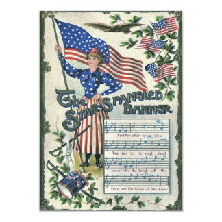 "Lady Liberty American Flag Star-Spangled Banner 5"" X 7"" Invitation Card"