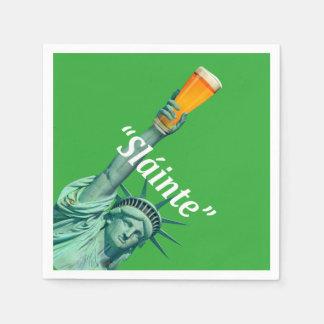 """Lady Liberty celebrates St.patricks Day """"Slánte"""", Paper Napkin"""