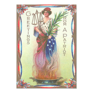 """Lady Liberty Eternal Flame Scales of Justice 5"""" X 7"""" Invitation Card"""