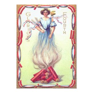 "Lady Liberty Fireworks Firecracker Firecrackers 5"" X 7"" Invitation Card"