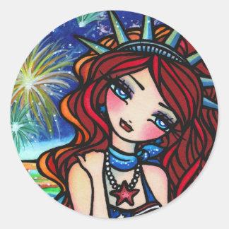 Lady Liberty Mermaid 4th of July Art Hannah Lynn Round Sticker