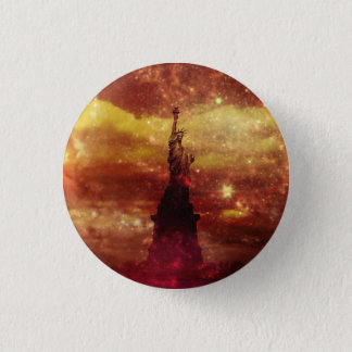 Lady Liberty red and yellow stars 1 Inch Round Button
