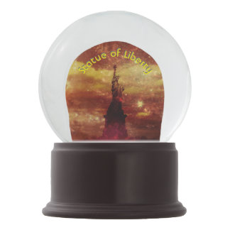 Lady Liberty red and yellow stars 3d curved text Snow Globe
