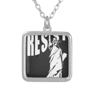lady-liberty-resist- silver plated necklace