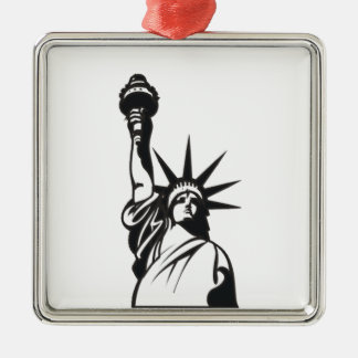 Lady Liberty Silver-Colored Square Ornament