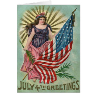 Lady Liberty Stars & Stripes Vintage 4th of July Card