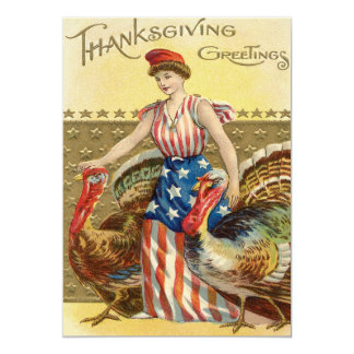 "Lady Liberty Turkeys US Flag Patriotic 5"" X 7"" Invitation Card"