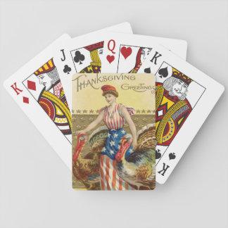 Lady Liberty Turkeys US Flag Patriotic Playing Cards