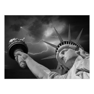 Lady Liberty under stormy skies Poster