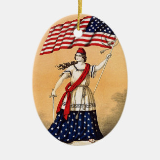 Lady Liberty with American Flag Ceramic Oval Ornament