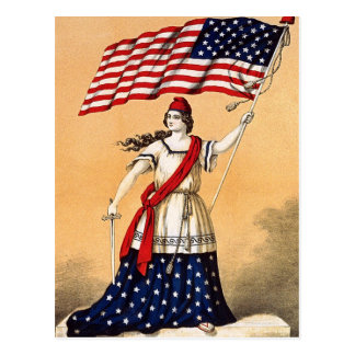 Lady Liberty with American Flag Postcard