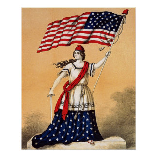 lady liberty with american flag poster