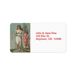 Lady Liberty with Flag Vintage Address Labels