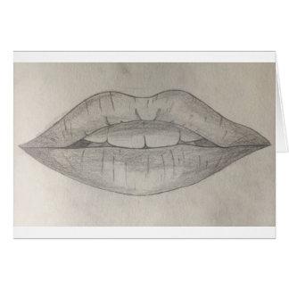 Lady Lips Artistic Sketch Card