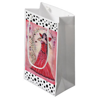 Lady love bug valentine fairy giftbag by Renee Small Gift Bag